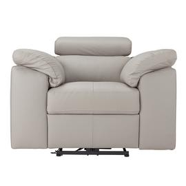 Argos Home Valencia Leather Power Recliner Chair -Light Grey