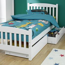 Snowy Single White Bed Frame with 2 Drawers