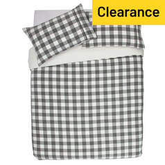 Argos Home Grey Brushed Check Bedding Set - Double