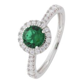 Revere 9ct White Gold Cubic Zirconia Emerald Colour Ring-N
