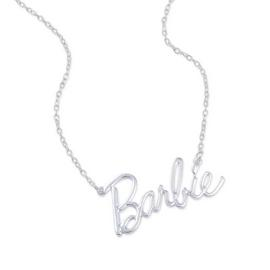 Barbie Kid's Silver Plated Crystal Barbie Logo Necklace