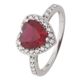 Revere Sterling Silver Ruby Colour Cubic Zirconia Halo Ring