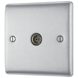 BG Co-Axial Socket Raised - Brushed Steel
