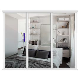 Shaker Sliding Doors and track W168 White Frame Mirror