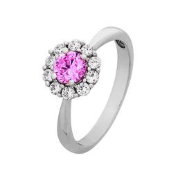 Revere Sterling Silver Pink & Clear Cubic Zirconia Halo Ring