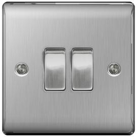 BG 2 Gang 2 Way Switch - Brushed Stainless Steel