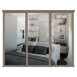 Shaker Sliding Doors and track W168 Stone Grey Frame Mirror