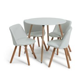 Argos Home Quattro White Dining Table & 4 White Chairs