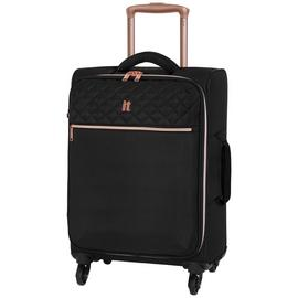 IT Luggage Expandable 4 Wheel Soft Cabin Suitcase - Black