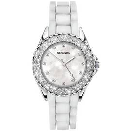 Sekonda Ladies' White Stone Set Silicone Strap Watch