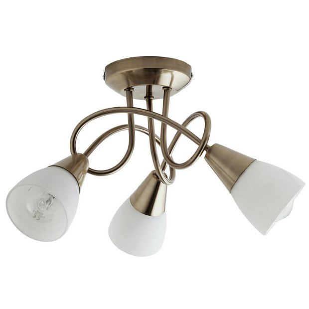 premium selection e4b25 826aa Buy Argos Home Curico 3 Light Glass Ceiling Light -Antique Brass | Ceiling  lights | Argos