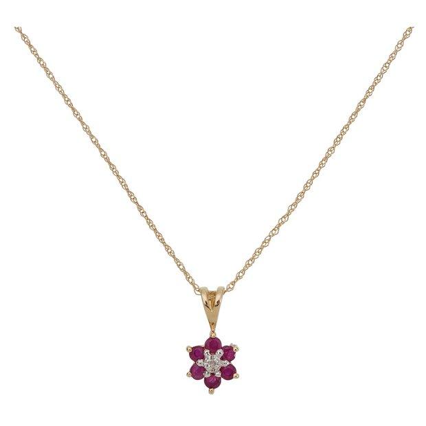 30c9d22d13337 Buy Revere 9ct Gold Flower Pendant 18 Inch Necklace | Womens necklaces |  Argos