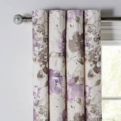 Argos Home Peony Lined Curtains - Plum
