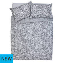Argos Home Grey Woodcut Printed Bedding Set - Double