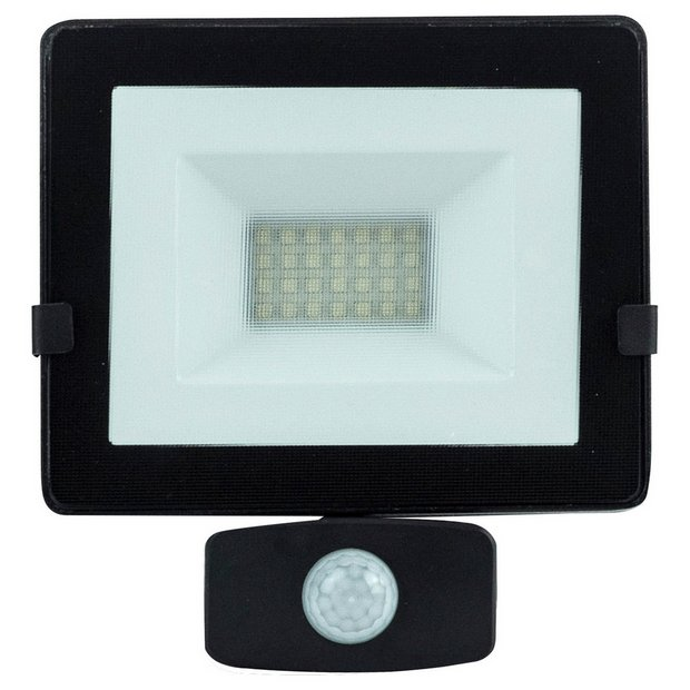 Buy Luceco Slimline 20 Watt LED PIR Flood Light - Black   Wall ...