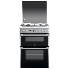 Indesit ID60G2X 60cm Double Oven Gas Cooker - Silver