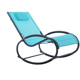 Vivere Wave Metal Rocker Chair - Ocean Blue on Matte Grey