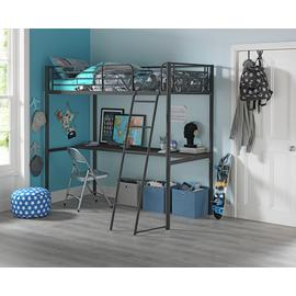 Argos Home Black High Sleeper, Desk & Kids Mattress