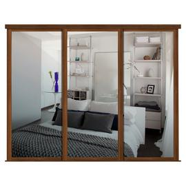 Shaker Sliding Doors and track W2592 Walnut Frame Mirror