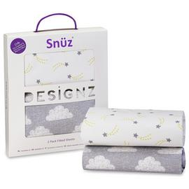 Snuz Crib 2 Pack of Fitted Sheets - Cloud Nine