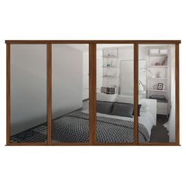 Shaker Sliding Doors and track W2898 Walnut Frame Mirror