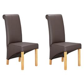Argos Home Pair of Scrollback Deep Skirted Chairs -Chocolate