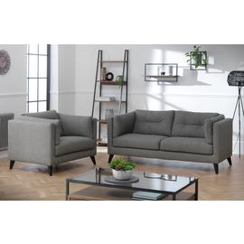 Argos Home Charlie Faux Leather Chair & 3 Seater Sofa - Grey