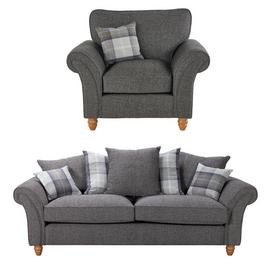 Argos Home Edison Fabric Chair & 3 Seater Sofa - Charcoal