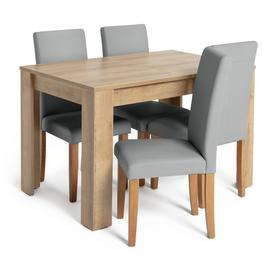 Habitat Miami Oak Effect Extending Table & 4 Chairs