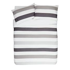 Argos Home Grey Waffle Stripe Bedding Set - Double