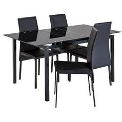 a03adc93030 Argos Home Lido Extendable Glass Table   4 Chairs - Black