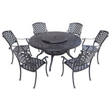 Verona Lazy Susan 6 Seater Cast Aluminium Patio Set