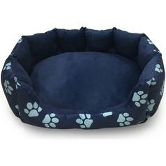 Paw Print Oval Navy Pet Bed - Medium