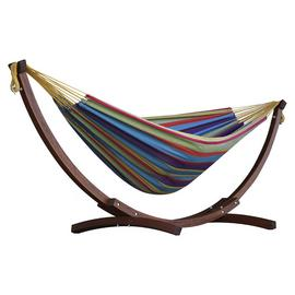 Vivere Double Cotton Hammock With Wooden Stand – Tropical