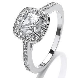 Buckely Silver Colour CZ Sparkle Cushion Ring