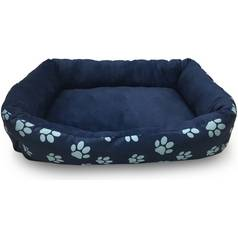 Paw Print Square Navy Pet Bed - Large