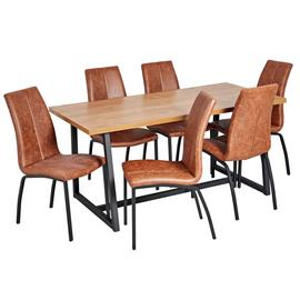 Argos Home Nomad Oak Effect Dining Table & 6 Milo Chairs