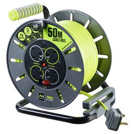 Masterplug Pro-XT 4 Socket 4 Switch Cable Reel - 50M