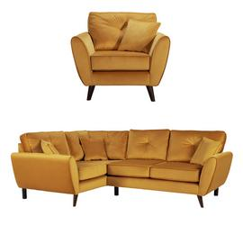 Argos Home Isla Velvet Chair & Left Corner Sofa - Gold