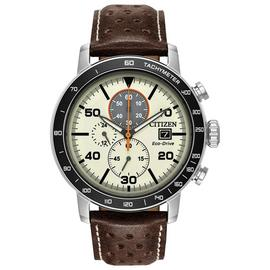 Citizen Men's Chronograph Brown Leather Strap Watch