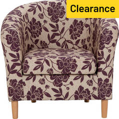 Argos Home Floral Fabric Tub Chair - Cranberry