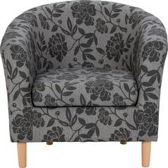 Argos Home Floral Fabric Tub Chair - Charcoal