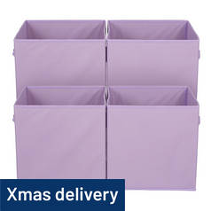 Argos Home Pack of 4 Canvas Boxes - Purple