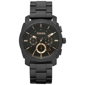 Fossil Machine Men's Black Stainless Steel Chronograph Watch