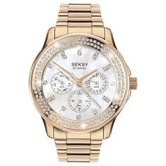 Seksy Ladies' Rose Gold Plated Stone Set Multi Dial Watch