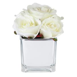 Mirrored Artificial White Rose Flower Arrangement