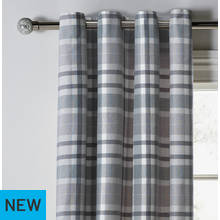 Argos Home Inverness Lined Eyelet Curtains - Grey Check