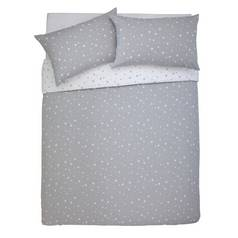 Argos Home Cosy Grey Star Brushed Bedding Set - Kingsize