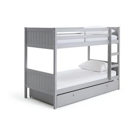 Argos Home Heavy Duty Grey Bunk Bed, Drawer & 2 Mattresses