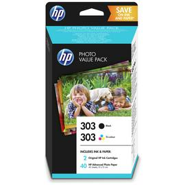 HP 303 Black & Colour Ink Cartridge with Photo Paper Pack